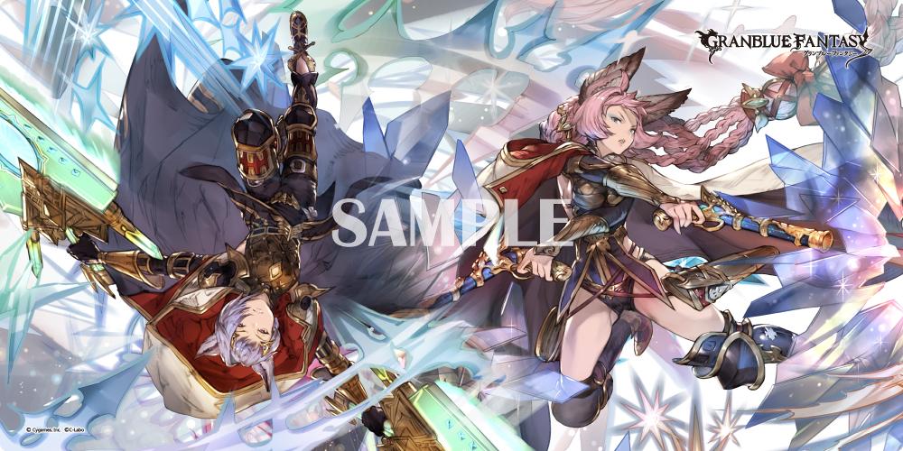 <strong>プレイマット『カトル/エッセル』</strong> ・販売価格:¥3,000 (税抜) ・サイズ[300×600 mm] ※表面:ポリエステル、裏面:ラバー製